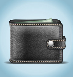 Black leather wallet vector