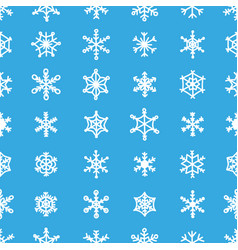 Blue snowflake seamless pattern 30 various types vector