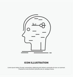 Brain hack hacking key mind icon line gray symbol vector