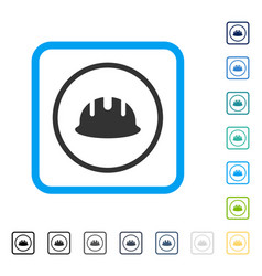 Builder hardhat framed icon vector