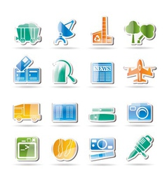 Business and industry icons vector