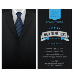 business card elegant suit and tuxedo with bow tie vector image