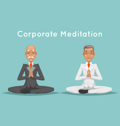 Businessman elderly old corporate yoga meditation vector