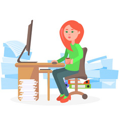 businesswoman stressed due to excessive paperwork vector image