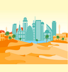Cartoon arab city on a landscape background vector