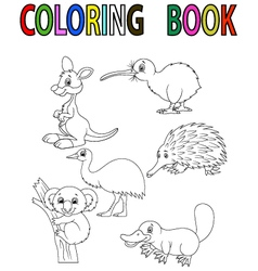 Cartoon australia animal coloring book vector