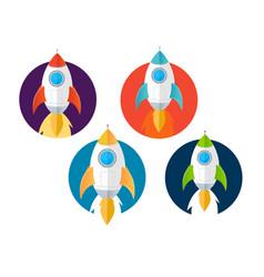 cartoon color rockets ships icons set vector image