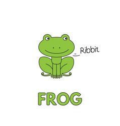 Cartoon frog flashcard for children vector