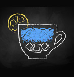chalk drawn sketch cup iced water vector image