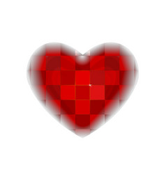 checkered red heart valentines day pattern vector image
