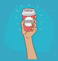Cheerfulness on paper cup of coffee vector