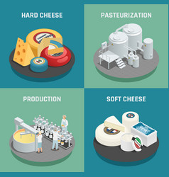 cheese production isometric icons concept vector image