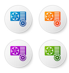 color air conditioner and gear icon isolated on vector image
