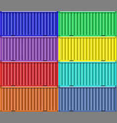 Colorful cargo shipping containers vector