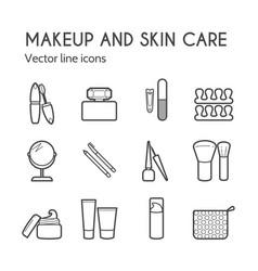 Cosmetic icons mascara brush perfume vector