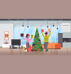 couple holding wrapped gift present boxes merry vector image