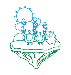degarded line nice couple rabbit in the float vector image