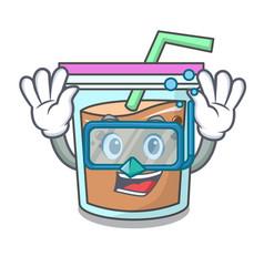 Diving bubble tea character cartoon vector