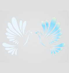 doves of two doves flying stylized vector image