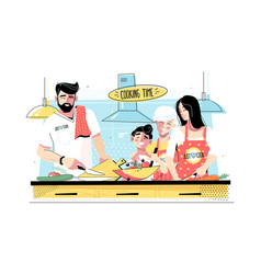 family cooking food together vector image