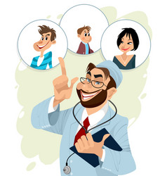 Family doctor and his patients vector