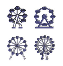 ferris wheel icon set color outline style vector image