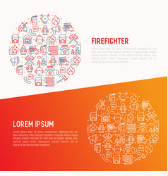 Firefighter concept in circle with thin line icons vector