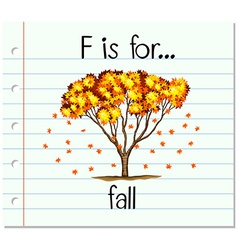 Flashcard letter F is for fall vector
