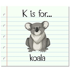 Flashcard letter K is for koala vector