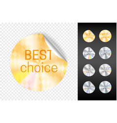 foil stickers retail gold and white sticker vector image