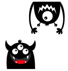 Funny monster set face head black silhouette eyes vector