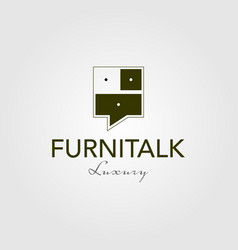 furniture talk interior logo vintage icon vector image