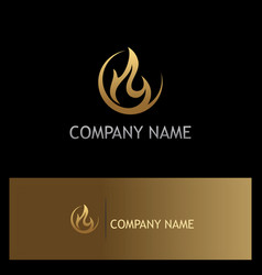gold fire abstract flame logo vector image