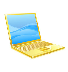 gold laptop computer vector image vector image