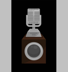 gold shiny microphone on steady stand isolated vector image