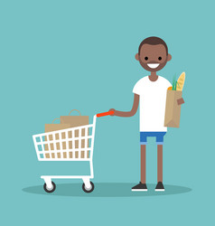 grocery shopping concept young customer standing vector image
