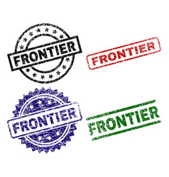 Grunge textured frontier seal stamps vector