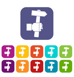 hand hoding hammer with tool icons set flat vector image