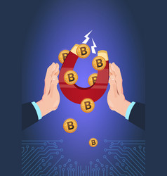 hand hold magnet bitcoin pulling computer mining vector image