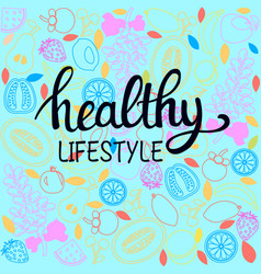 healthy food poster or banner with hand drawn vector image