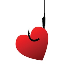 Heart on fishhook vector