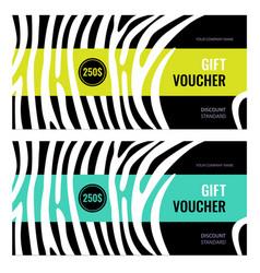 Horizontal gift voucher white lines on black vector