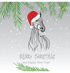 Horse merry Christmas card vector image