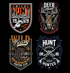 Hunting graphic t-shirts collection vector