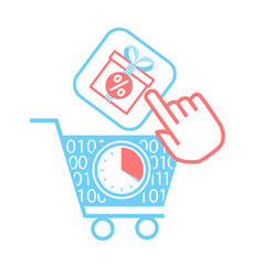 Icon on online store cart vector