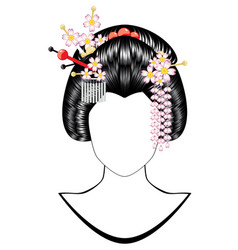 japanese girl hairstyle vector image