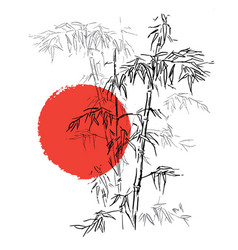 Japanese traditional bamboo branches isolated vector