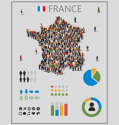 large group people in form france map vector image