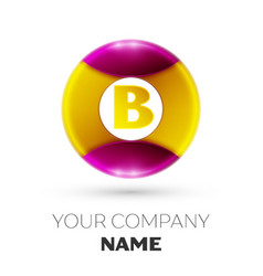 letter b logo symbol in the colorful circle vector image