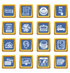 Loan credit icons set blue square vector